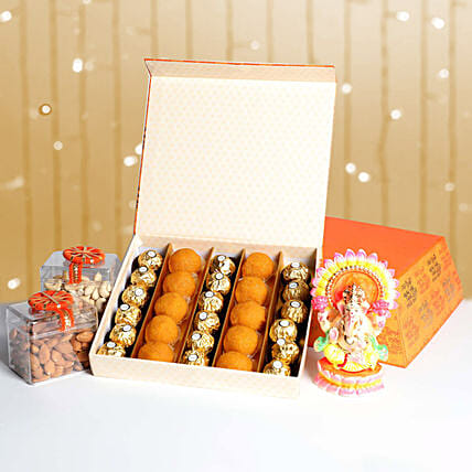 Dry Fruits With Sweets and Idol Box Hamper