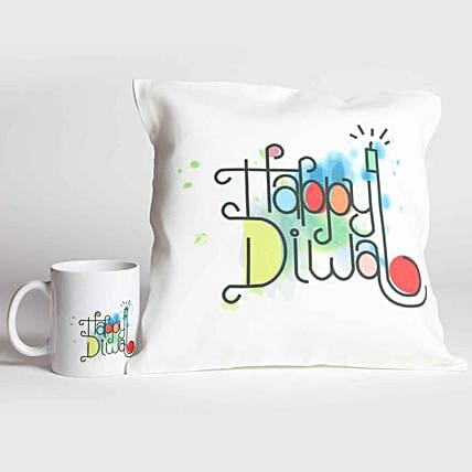 Happy Diwali White Printed Combo Gifts:Personalised Cushions to UAE