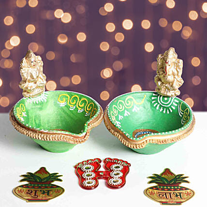 Designer Diya With Divine Stickers:Diwali Gift Delivery in Dubai UAE