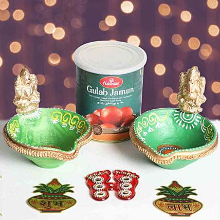 Designer Diya With Divine Stickers and Sweets:Diwali Gift Delivery in Dubai UAE