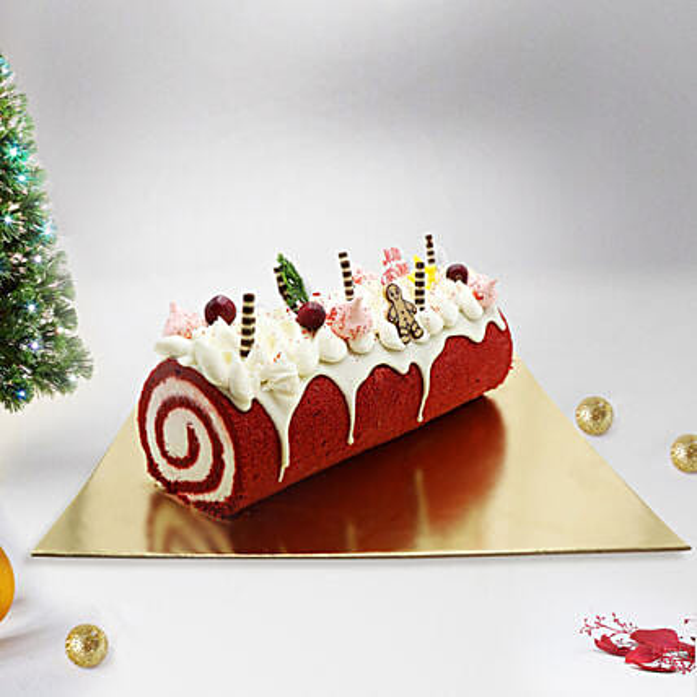 Yule Log Red Velvet Cake 4 Portion