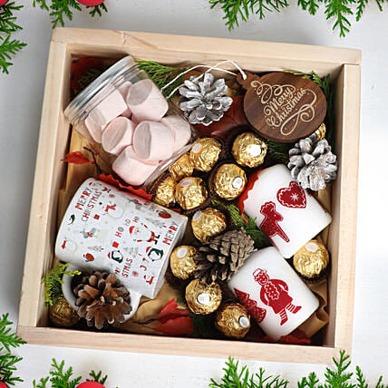 Christmas Wishes in Wooden Tray