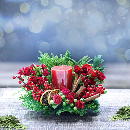 Red Radiance and Spice Table Arrangement