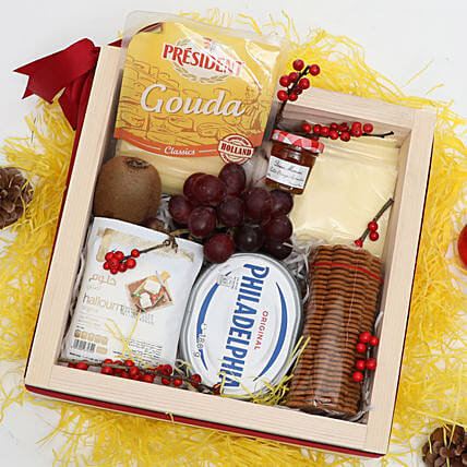 Cheese and Snacks in Wooden Box