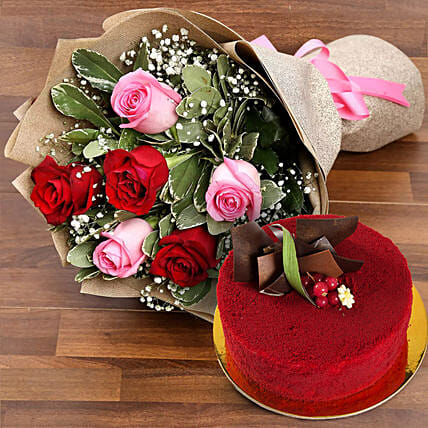 Pink and Red Roses with Red Velvet Cake:Dubai Flower Delivery