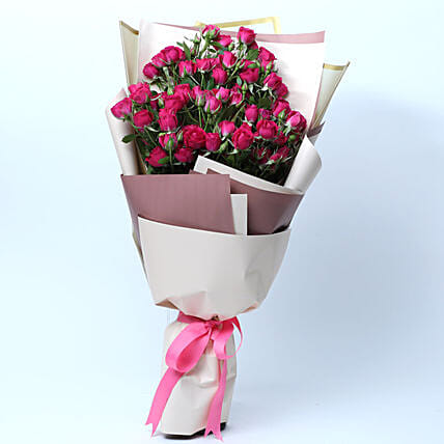 Dark Pink Spray Roses Bouquet