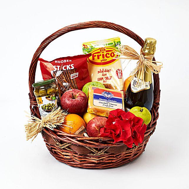 Cheese Fruits N Juice Basket