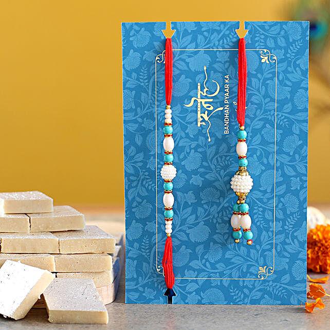 Blue Pearl And Lumba Rakhi Set With Kaju Katli