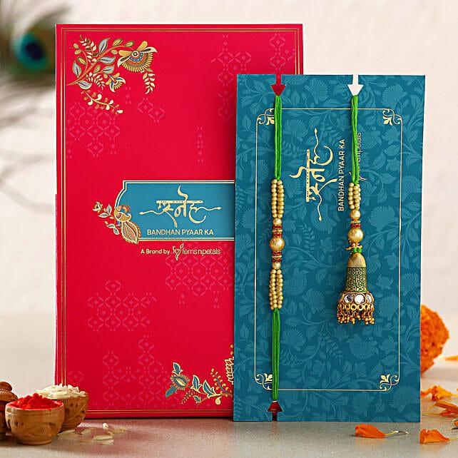 Ethnic Green Pearl And Lumba Rakhi Set:Send Ethnic Rakhi to UAE