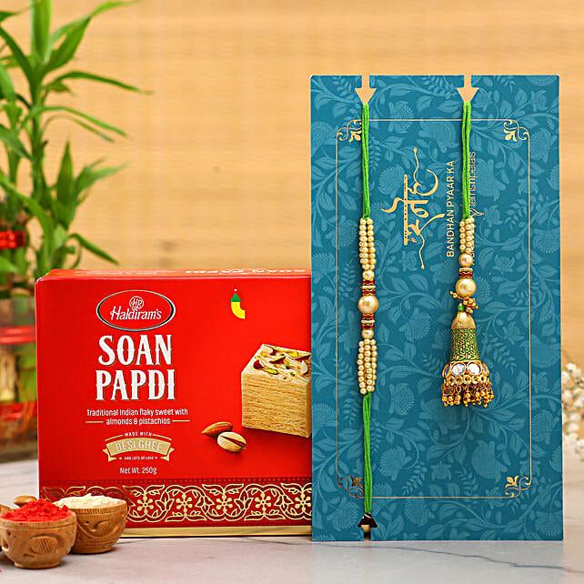 Ethnic Green Pearl And Lumba Rakhi Set With Soan Papdi:Send Ethnic Rakhi to UAE
