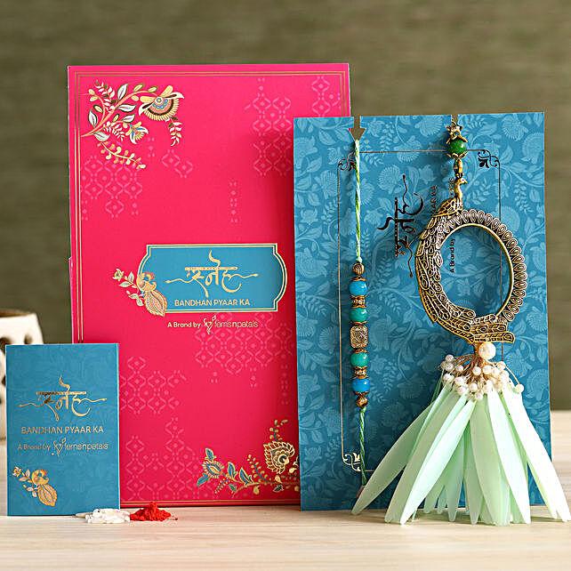 Feather And Pearl Designer Lumba Rakhi Set:Send Ethnic Rakhi to UAE