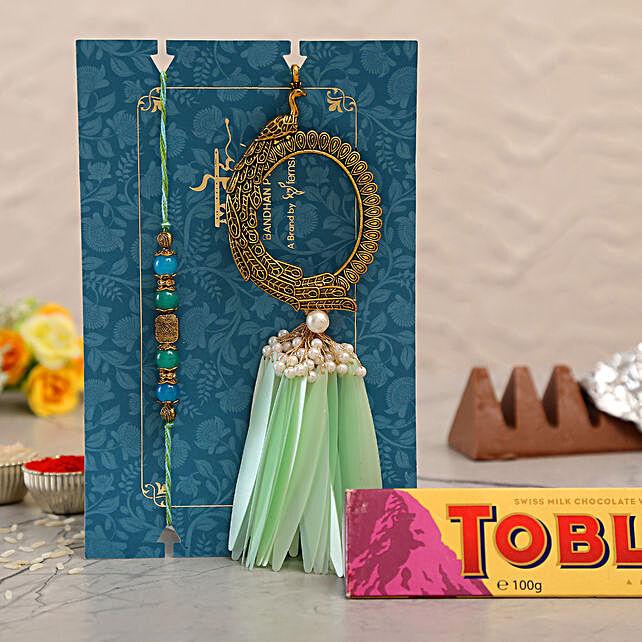 Feather Pearl Designer Lumba Rakhi Set With Toblerone Chocolate:Rakhi Combos to UAE