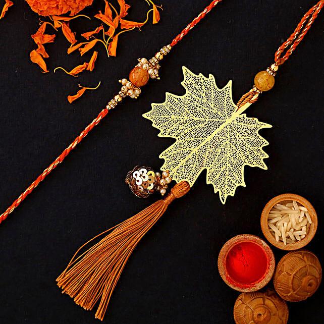 Maple Leaf Modern Design Lumba Rakhi Set:Rakhi Sets To UAE