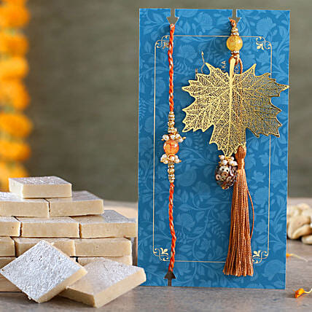 Maple Leaf Modern Lumba Rakhi Set With Kaju Katli:Family Rakhi Set to UAE