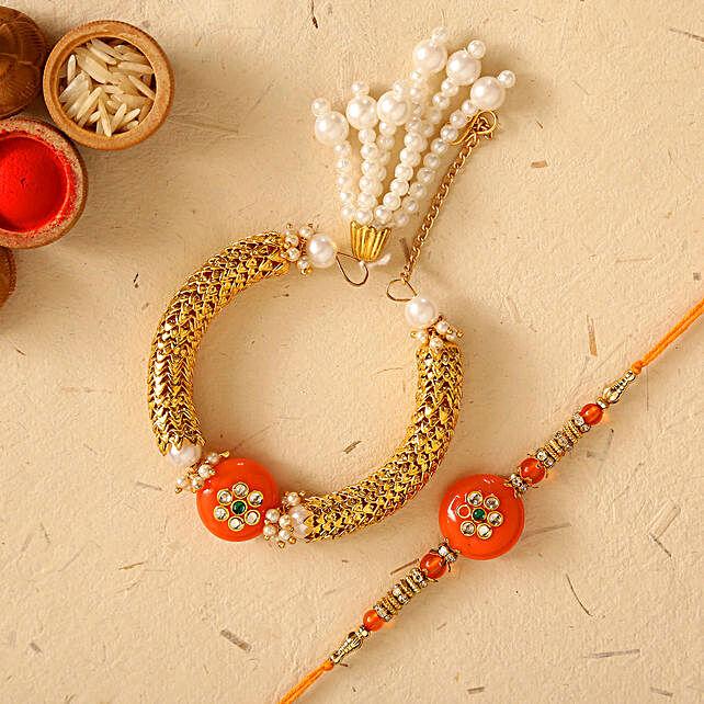Orange Pearl And Lumba Rakhi Set:Family Rakhi Set to UAE