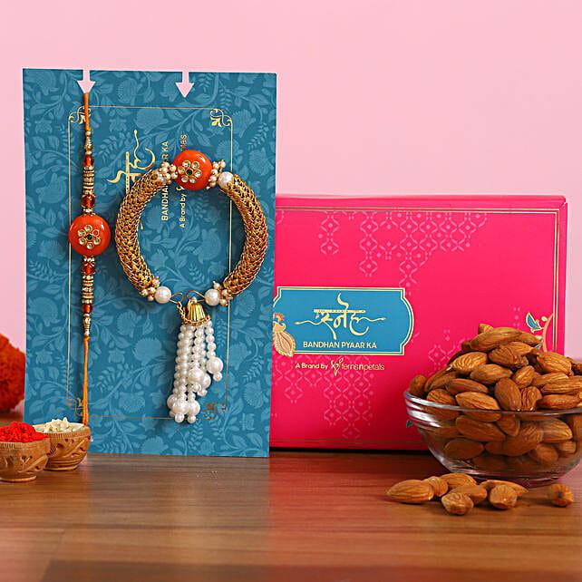 Orange Pearl And Lumba Rakhi Set With Healthy Almonds