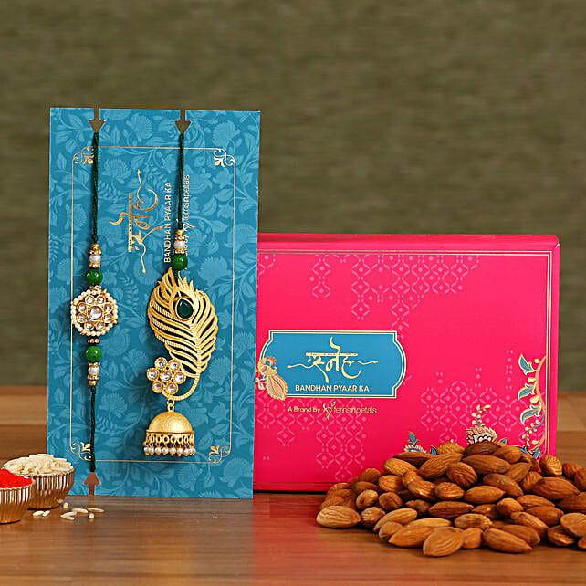 Peacock Feather Jhumki Lumba Rakhi Set With Healthy Almonds