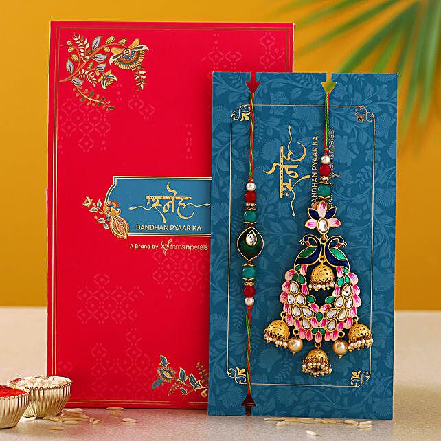 Pink Peacock Lumba Rakhi Set
