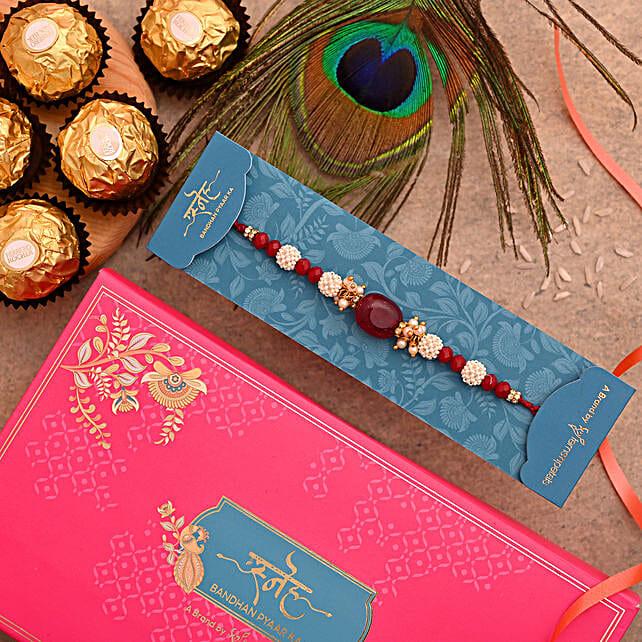 Red Beads Pearl Designer Rakhi And 3 Pcs Ferrero Rocher:Pearl Rakhi to UAE