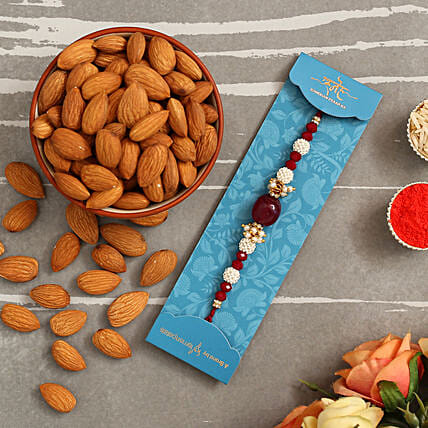 Red Beads Pearl Designer Rakhi And Healthy Almonds