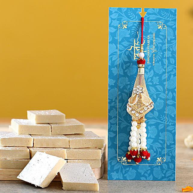 Traditional Golden Lumba Rakhi And Kaju Katli:Rakhi Sets To UAE