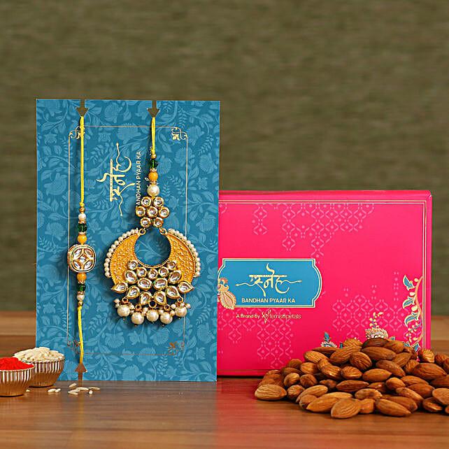 Yellow Crescent Shaped Lumba Rakhi Set With Healthy Almonds