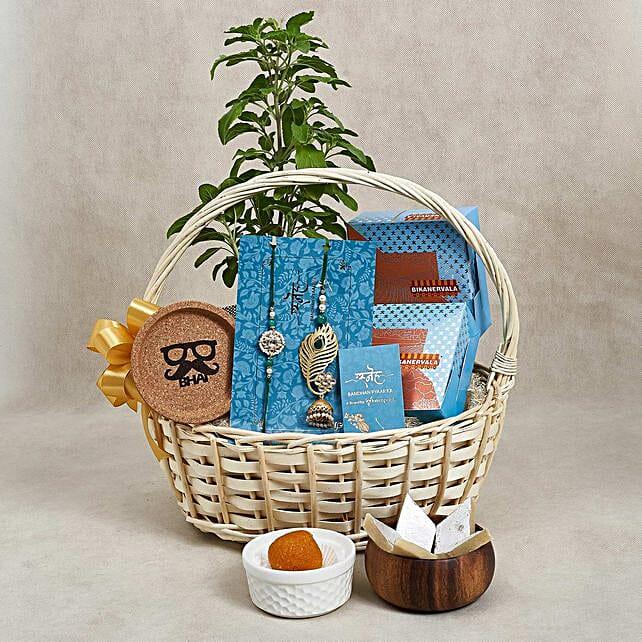 Rakhi Basket with Sweets n Tulsi Plant