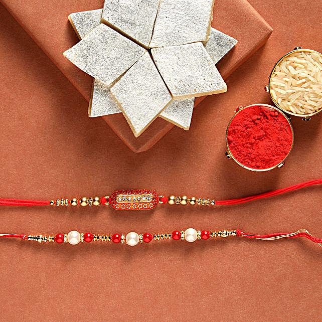 Kaju Katli Box With Pearl & Capsule Rakhis