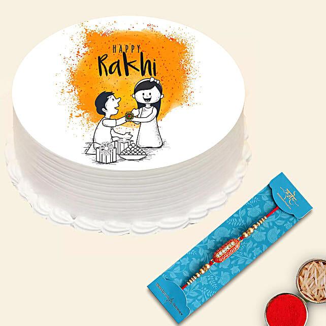 Meena Thread Rakhi with Happy Rakhi Cake