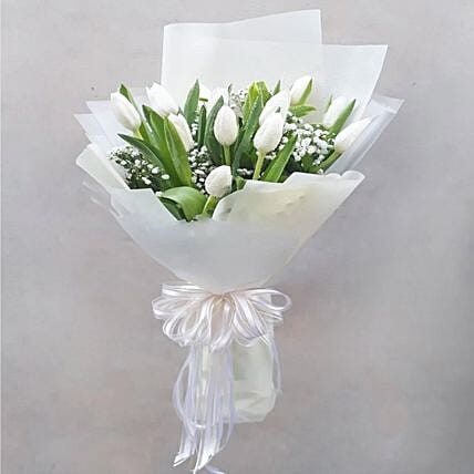 Peaceful White Tulips Bouquet
