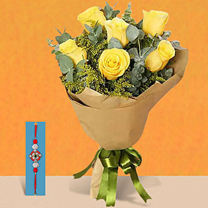 Rakhi With Yellow Roses Bouquet