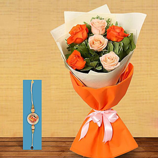 Rakhi with Orange N Peach Roses