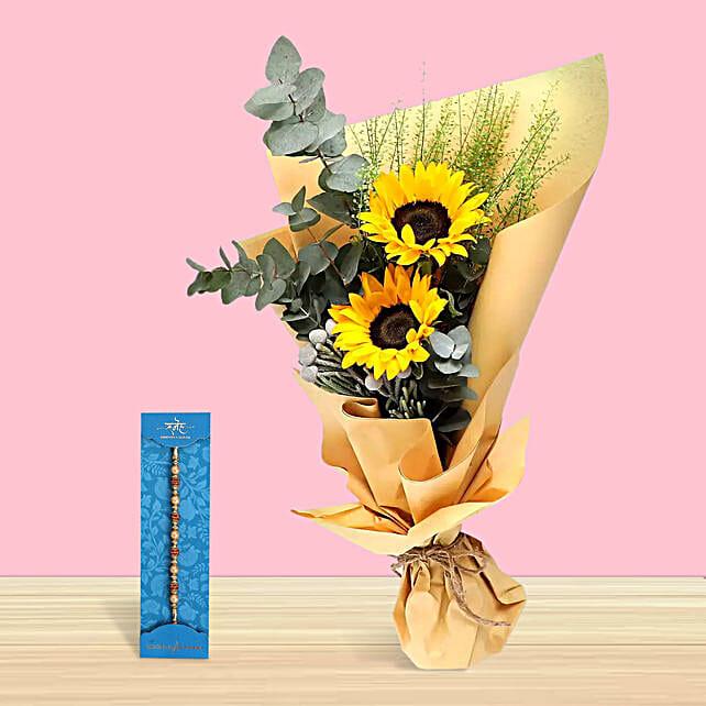Rakhi with Sunflower Bouquet:Rakhi for Brother in UAE
