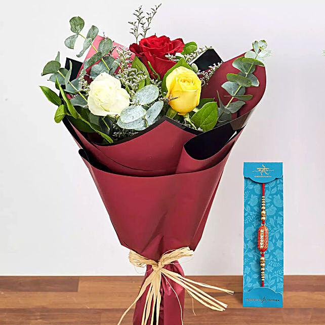 Rakhi with Vibrant Roses Bouquet