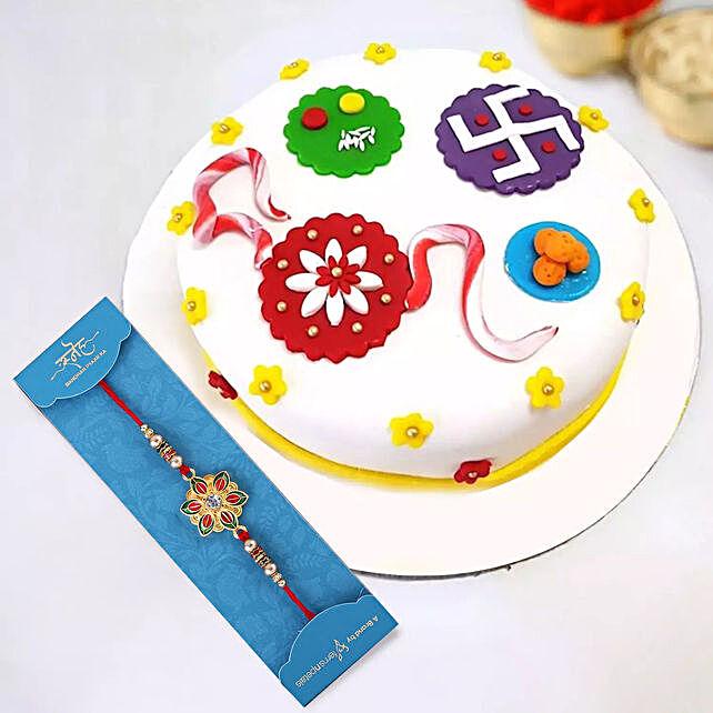 Golden Pearl Rakhi and Rakhi Theme Cake:Rakhi for Brother in UAE
