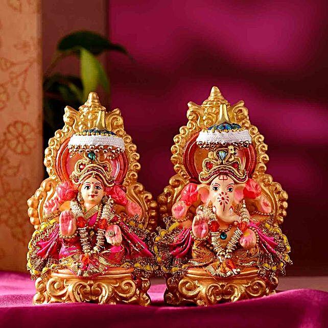 Auspicious Lakshmi Ganesha Idol Set