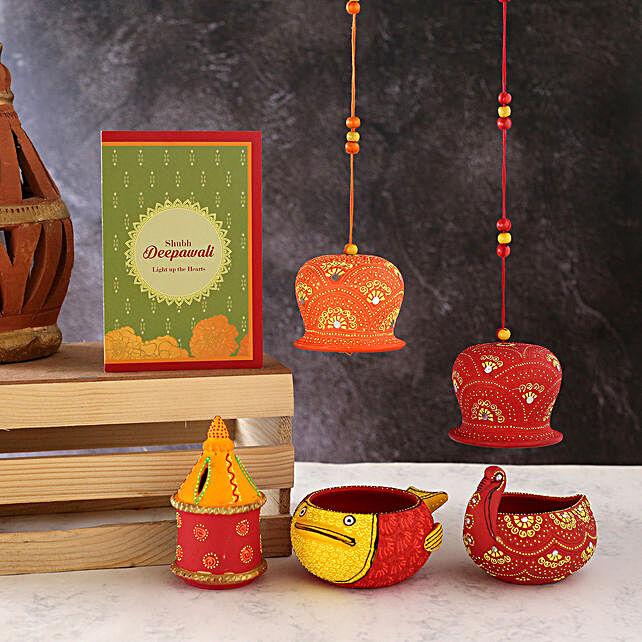 Set Of 4 Beautiful Diyas With Bells And Greeting Card