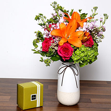 Vivid Mixed Flower Vase and Chocolates:Send Roses to UAE