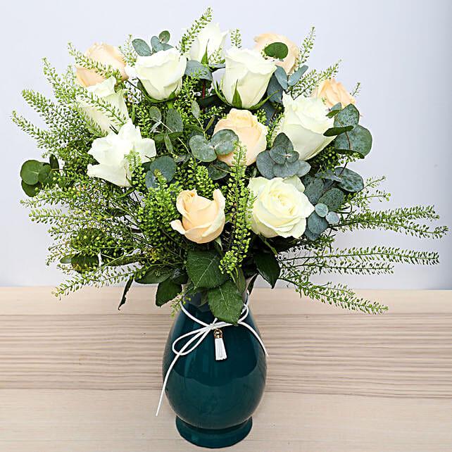 White N Peach Roses in Glass Vase