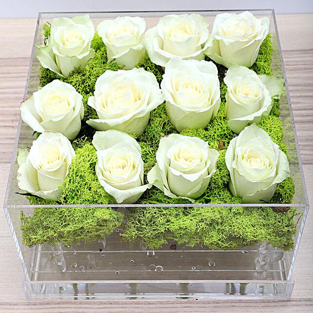 White Roses in Acrylic Base