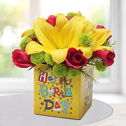 Yellow N Pink Birthday Flower Arrangement