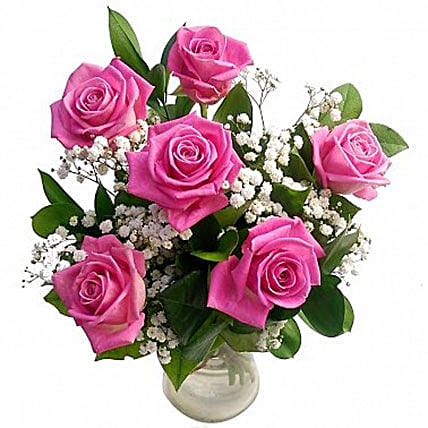 Admirable 6 Pink Roses Bouquet