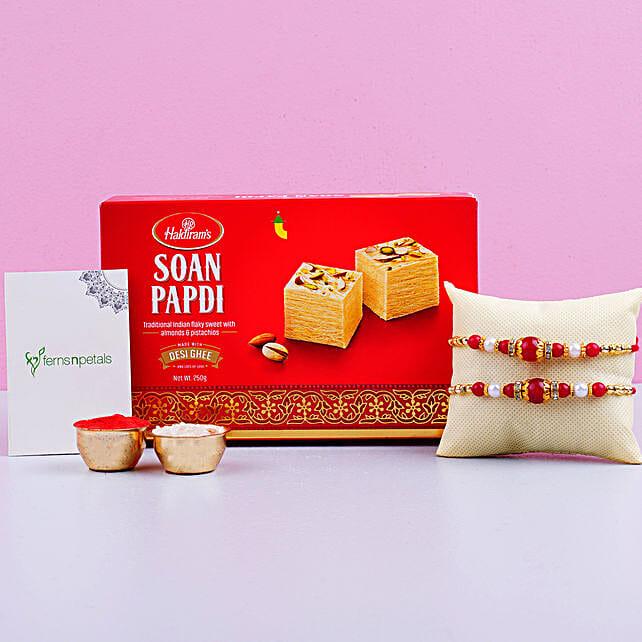 Appealing 2 Designer Rakhis With Soan Papdi