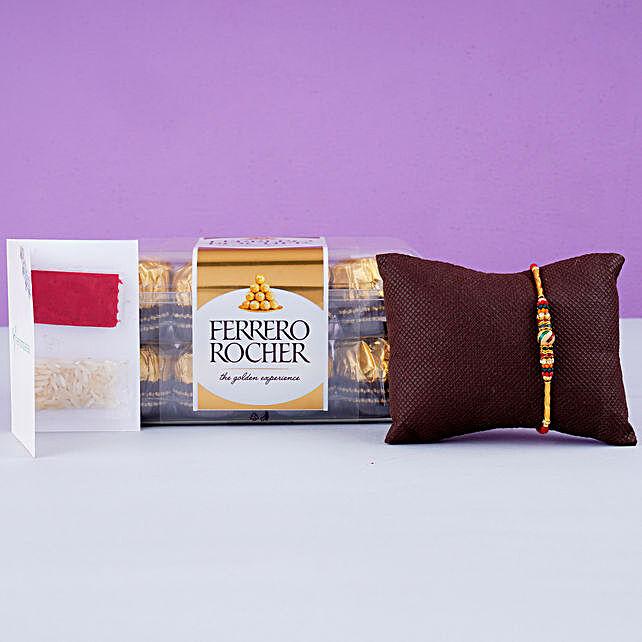 Beautiful Meena Thread Rakhi And 12 Pcs Ferrero Rocher:Rakhi Combos to UK