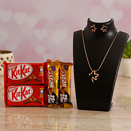 Chocolates Gift Combo & Valentines Rose Gold Necklace for Her