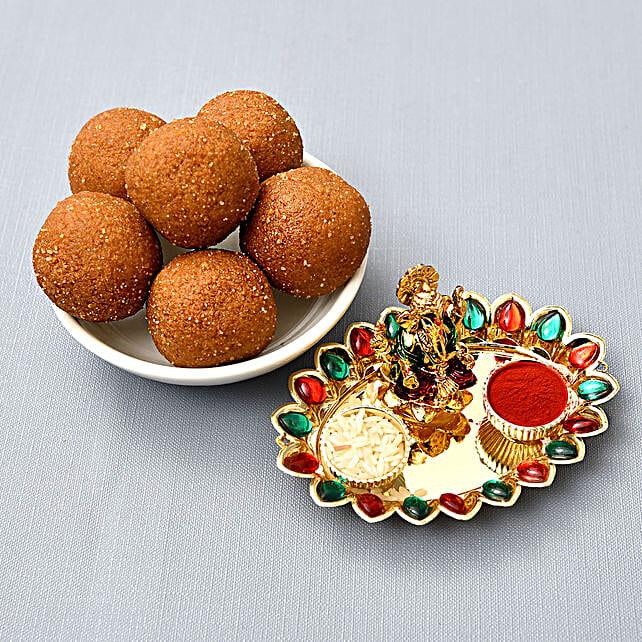 Besan Laddoo And Puja Thali Combo