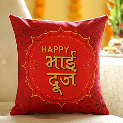 Online Hindi Wishes Cushion For Brother:Bhai Dooj Gift Delivery in UK