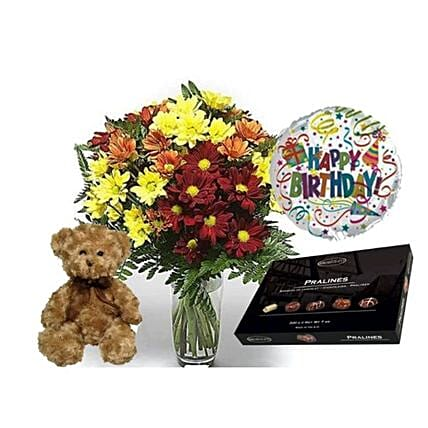 Birthday Gift Assortment:Flowers and Teddy Delivery in UK