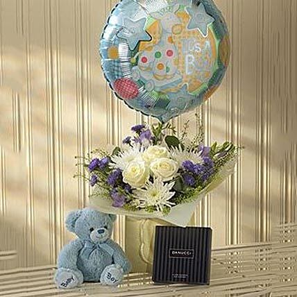 Blue Lullaby Balloon Teddy and Chocolates Gift Set
