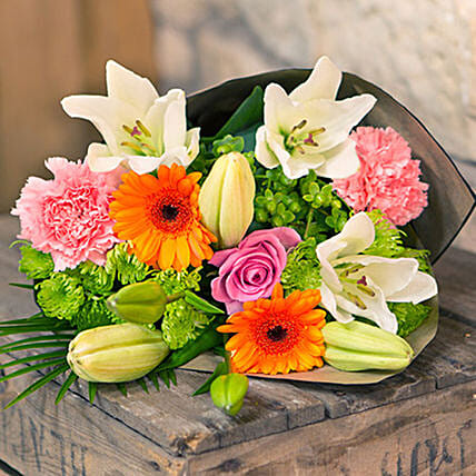 Bouquet Of Lilies Chrysanthemums And Carnations